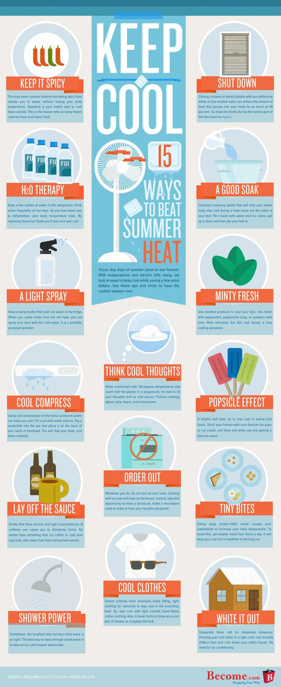 15 Ways To Stay Cool in the Heat Summer life hacks
