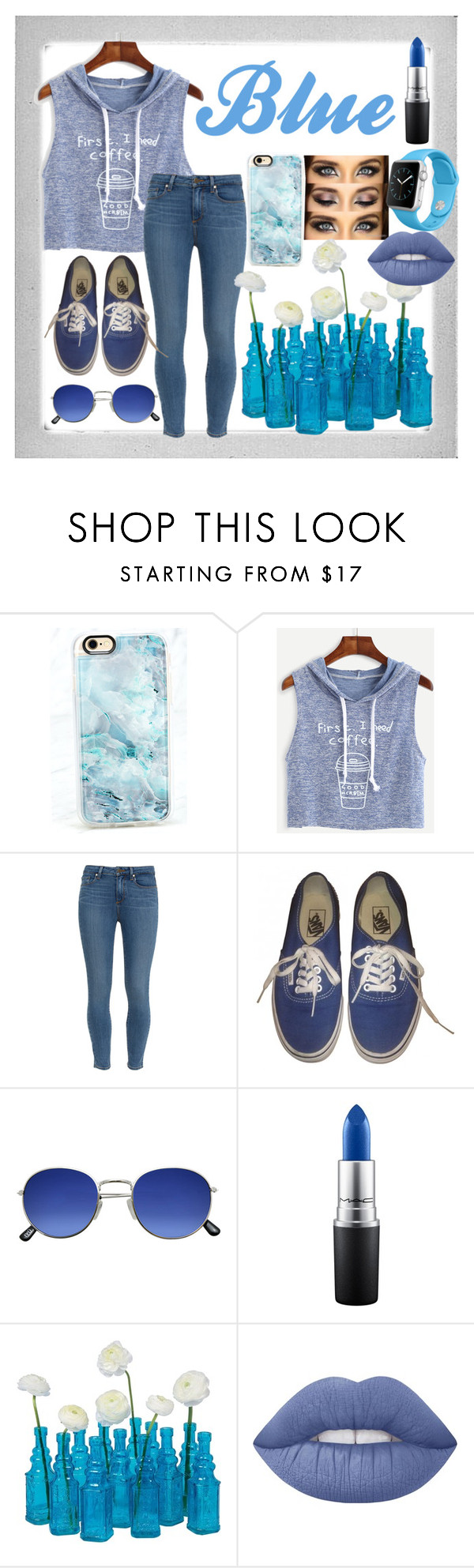 """""""Beautiful Blue Day🌾💙"""" by savanaherron ❤ liked on Polyvore featuring Polaroid, Casetify, WithChic, Paige Denim, Vans, MAC Cosmetics, Cultural Intrigue, Lime Crime and Apple"""