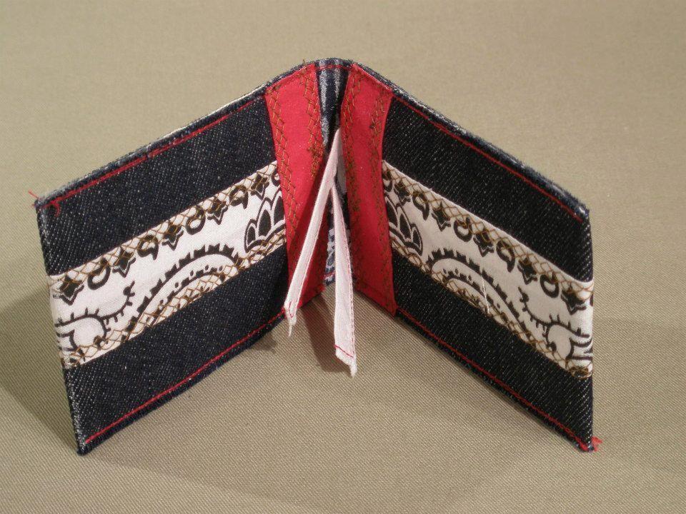 Denim business/credit card holder with Bandana trim (View 2)