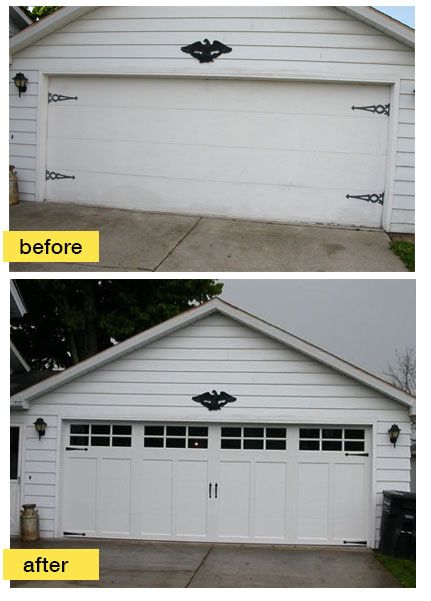 Outdated Flush Panel Doors Replaced With New Insulated Clopay Coachman  Collection Carriage House Style Garage Doors