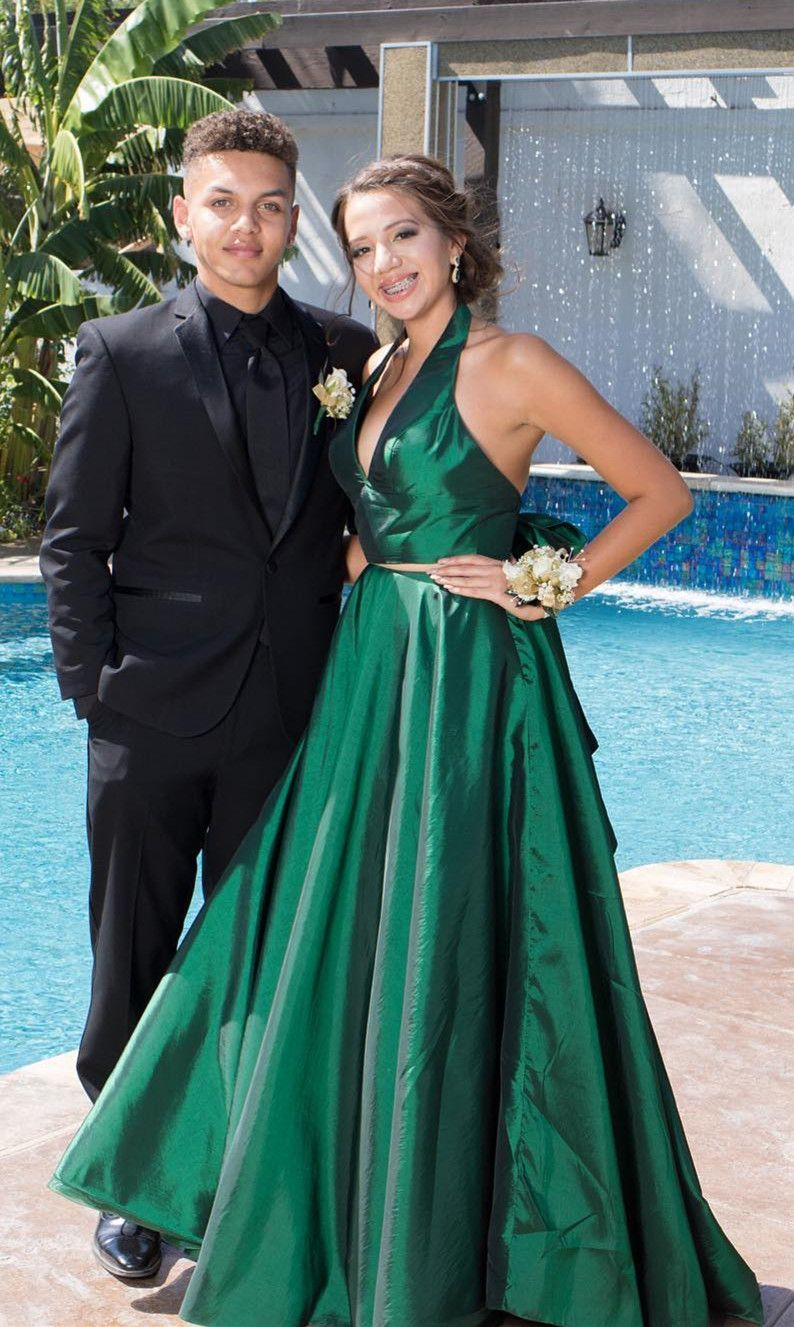 Simply two piece halter royal blue long prom dress with pockets in