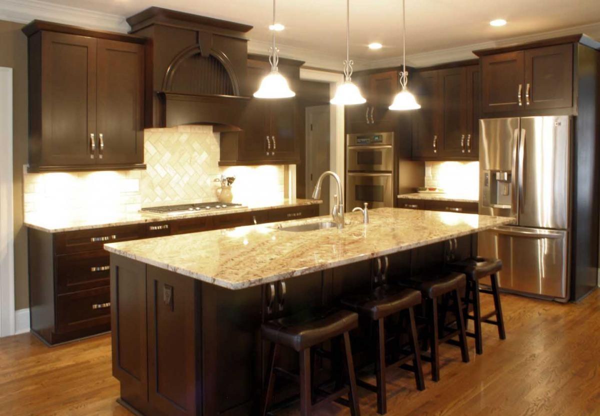 Platinum Kitchens Espresso Kitchen W Typhoon Bordeaux Granite - Kitchens with espresso cabinets