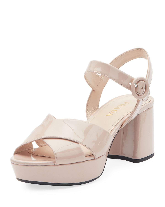 0d29e213ea13 Patent Leather Platform Ankle-Wrap 65mm Sandals