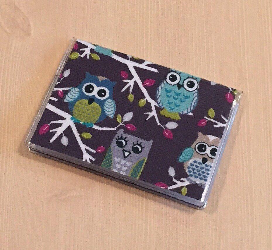 Card case mini wallet owls on a branch etsy mini