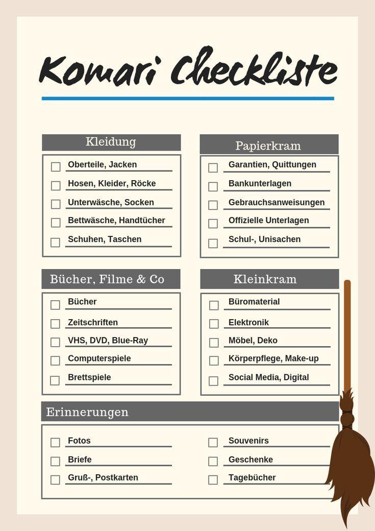ausmisten mit der konmari methode erfahrungen checkliste zum download konmari konmari. Black Bedroom Furniture Sets. Home Design Ideas