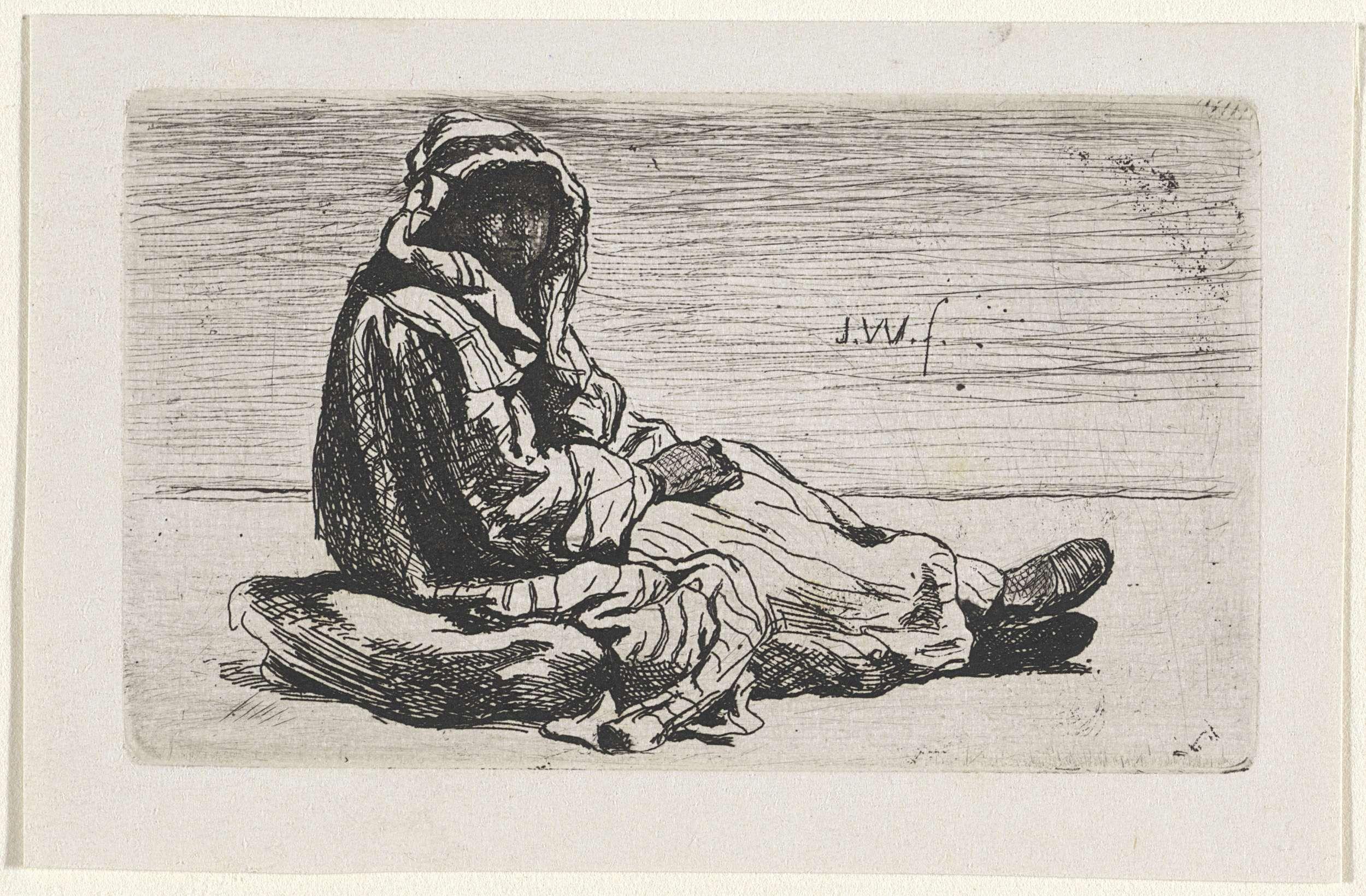 Jan Weissenbruch | Oosters geklede figuur op een kussen, Jan Weissenbruch, 1837 - 1880 | Een figuur in Oosterse kledij zit op een kussen.