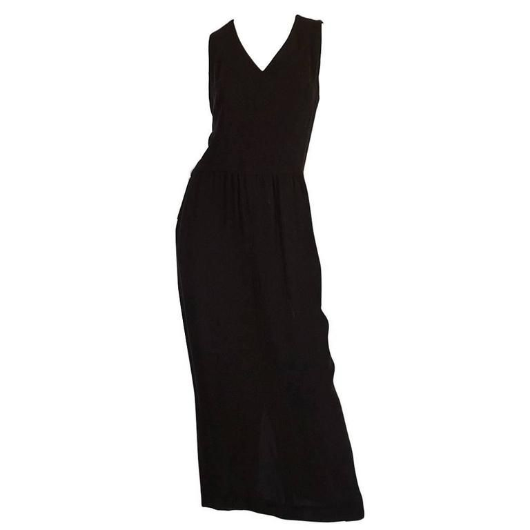 1990s Chanel Woven Silk Crepe Sleeveless Dress