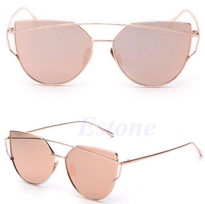 Women s Glasses Metal Flat Lens Vintage Fashion Mirrored Oversized  Sunglasses   eBay 5b9cd5008c14