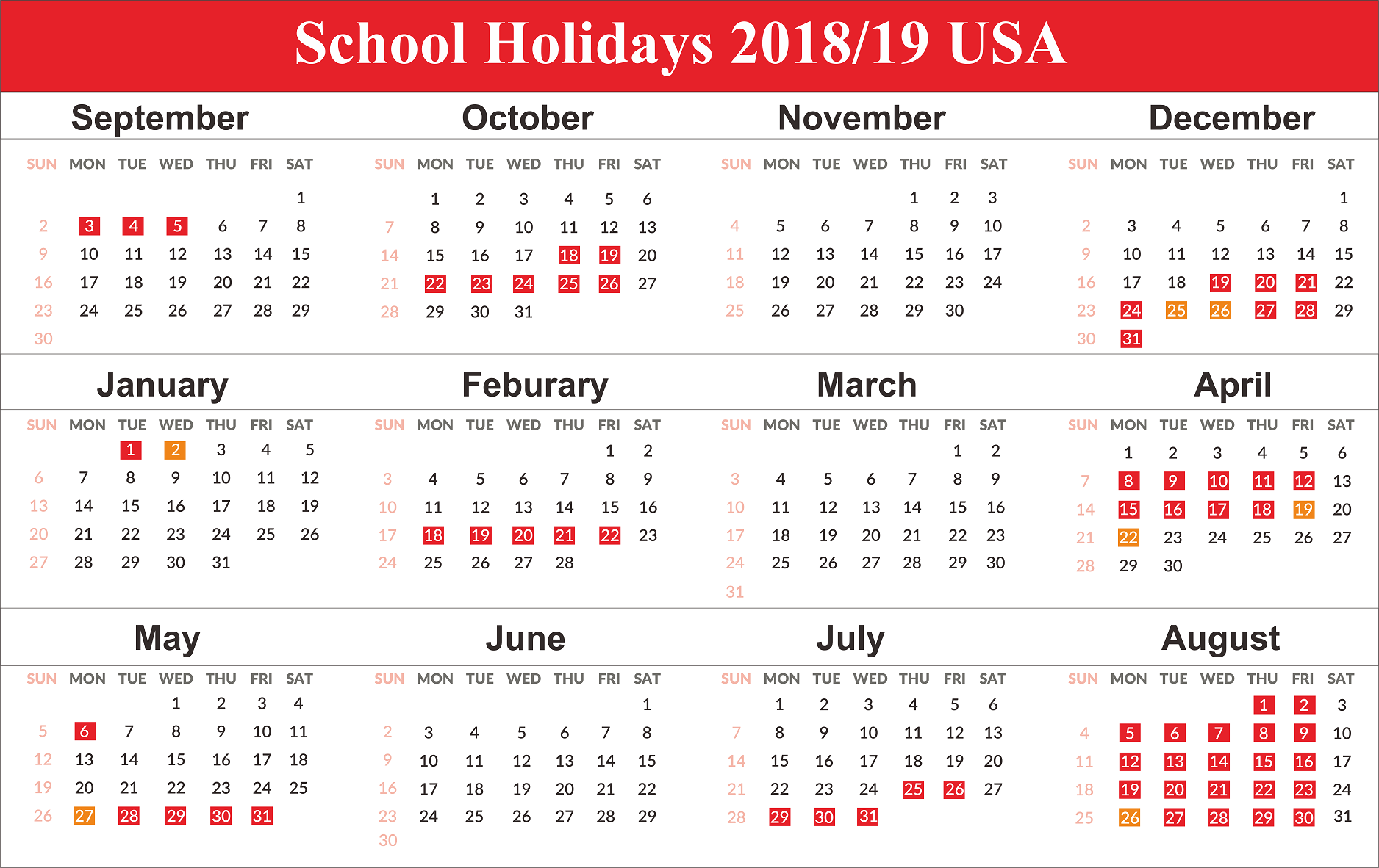 School Holidays 2019 For Usa School Holiday Calendar School Calendar School Holidays