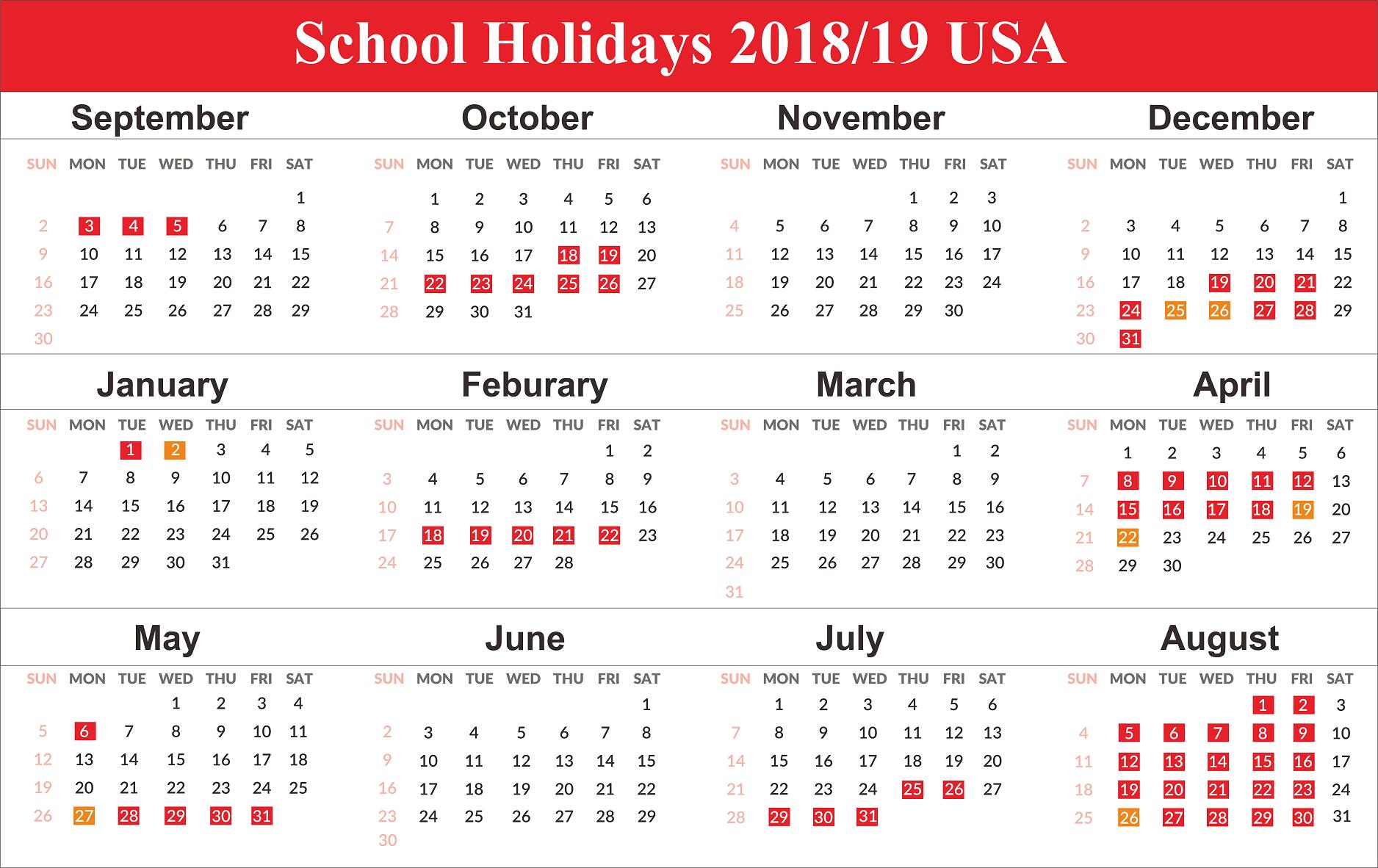 US Holidays 2020 School calendar, School holiday