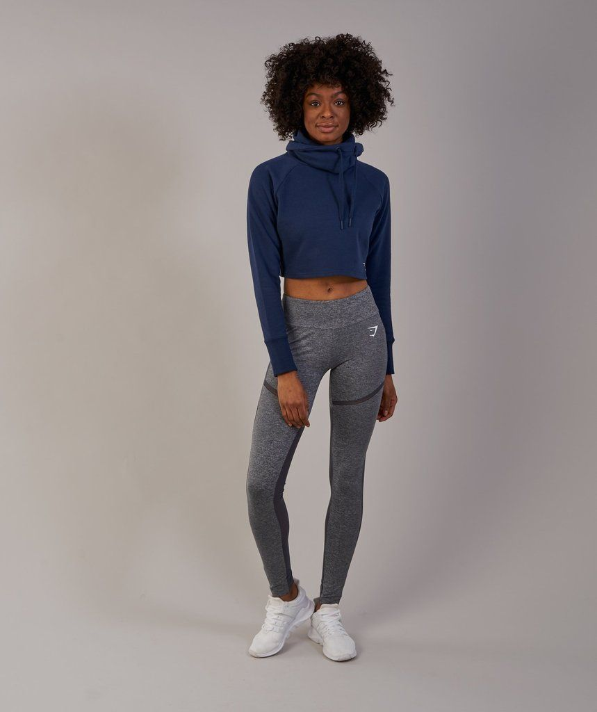 187e4bb2fa5370 Gymshark Slouch Cropped Hoodie - Sapphire Blue | Gymshark | Cropped ...