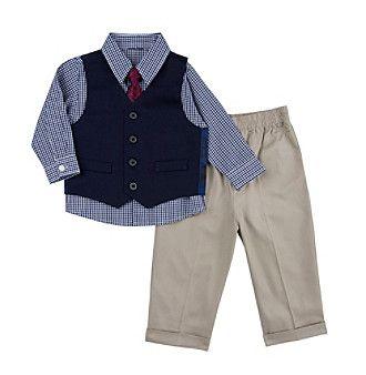 Nautica® Baby Boys' Solid Vest Set with Tie