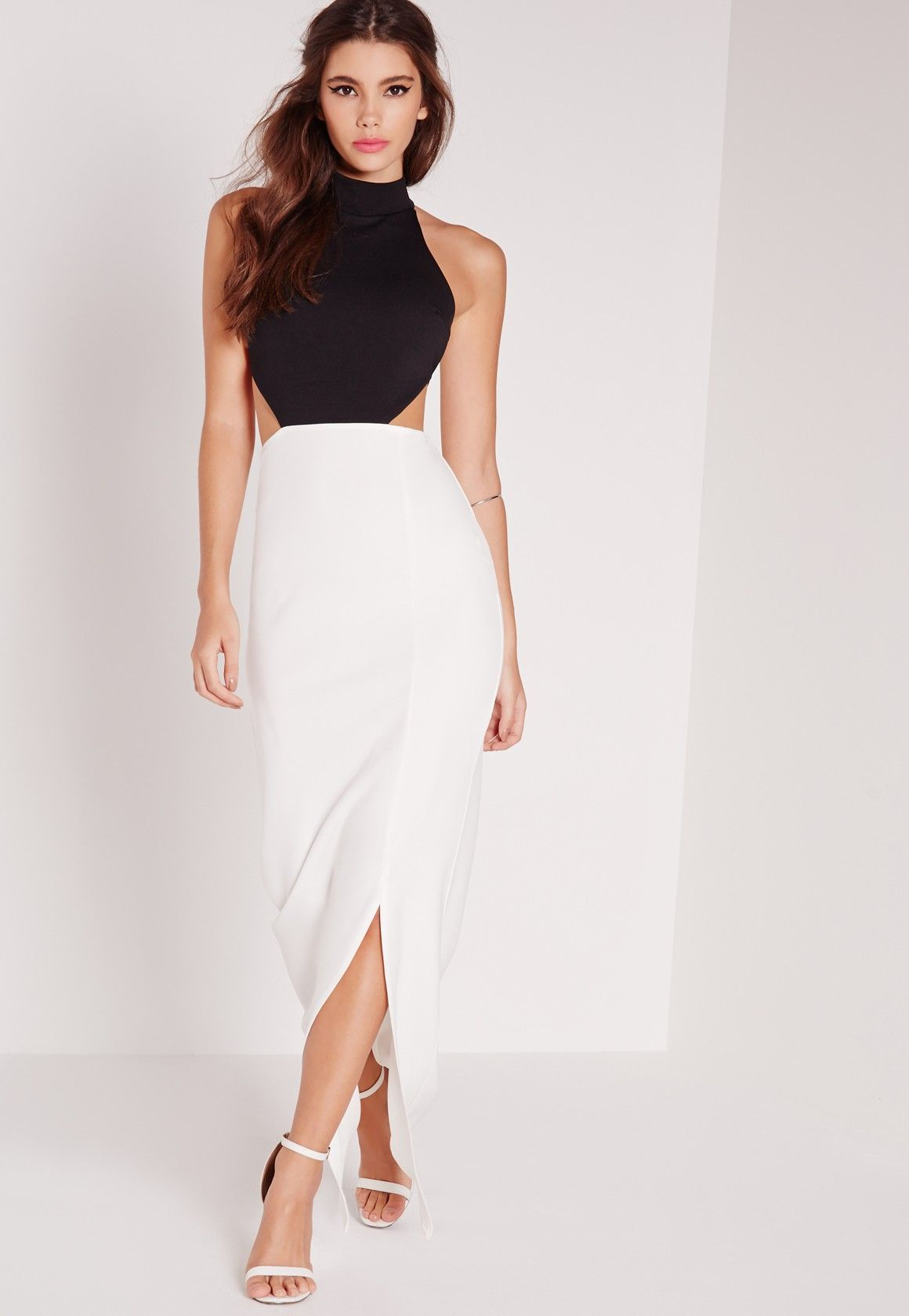 79252a6f5a8 Robe longue noire et blanche robe blanche droite courte