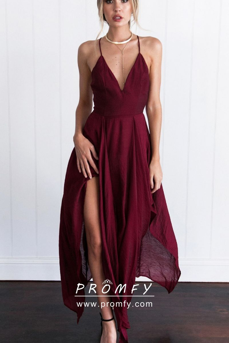 a5ce2a27a71df Flowy burgundy chiffon plunging V neckline, spaghetti straps, high slit,  open back sexy ankle length prom party dress.