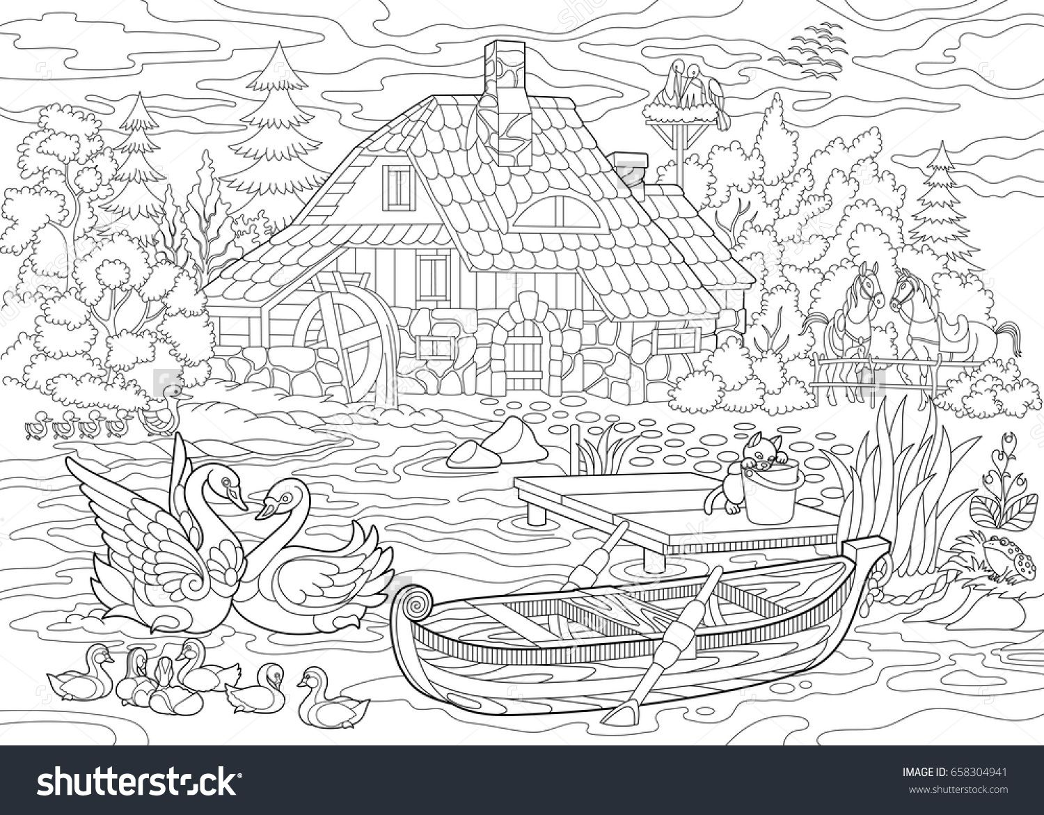 Coloring Book Page Of Rural Landscape Farm House Ducks Kitten Swans Horses Frog Storks Flock Of Seag Coloring Books Adult Coloring Pages