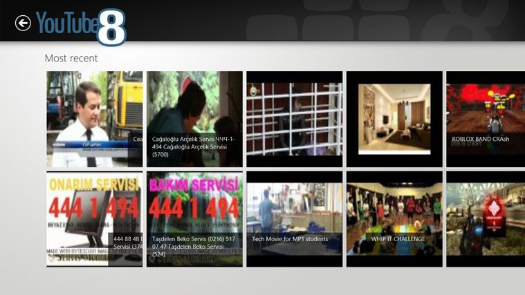 Windows 8 App: YouTube8 YouTube App สำหรับ Windows 8