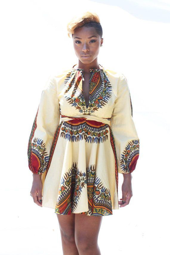 ZHARA Keyhole Dashiki Dress