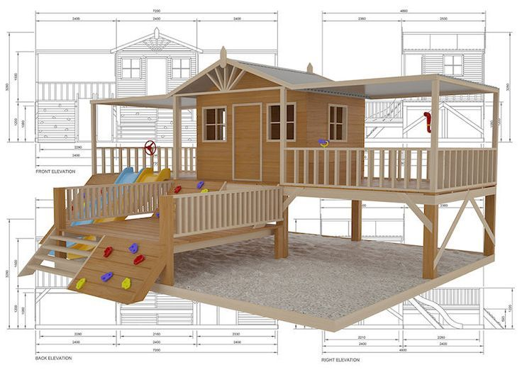 Timbertop Mansion Cubby House Australian Made Wooden Playground DIY Kits