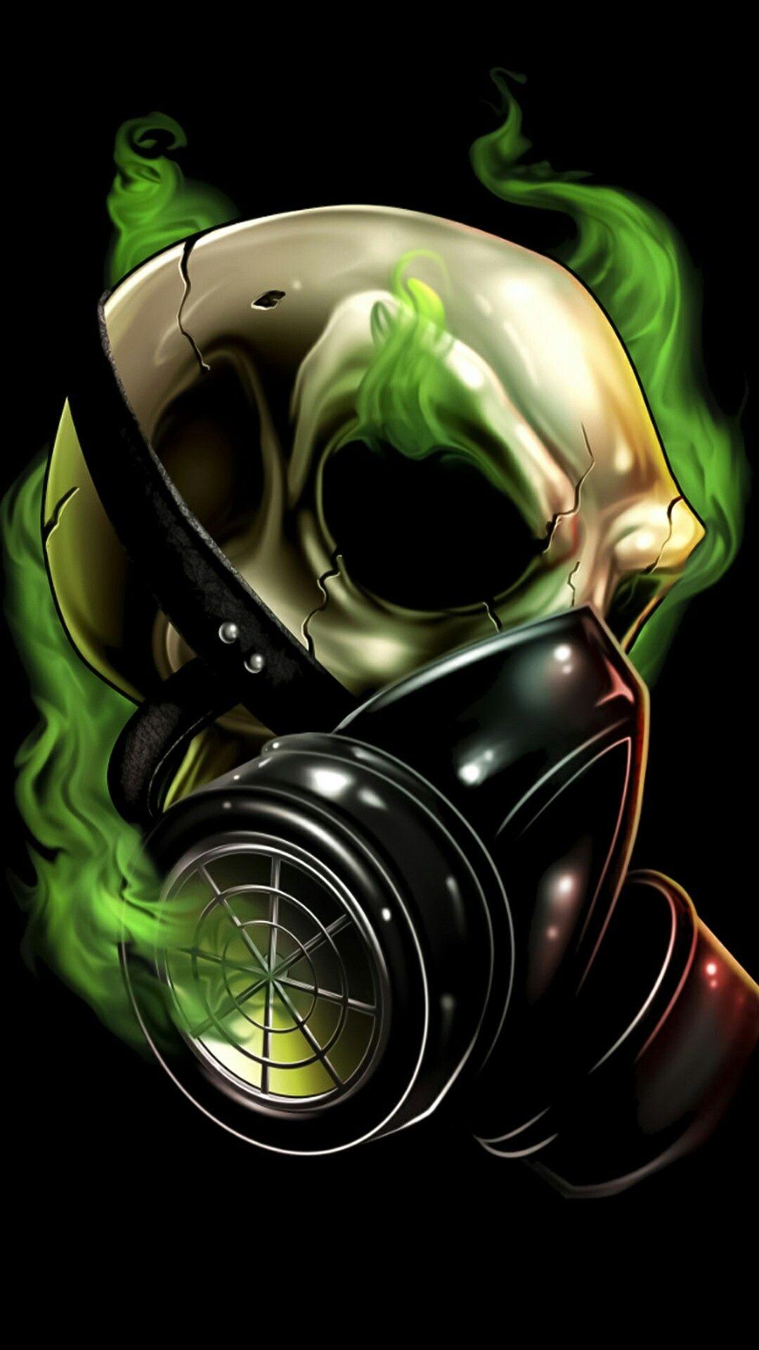 Skull Gas Mask Green