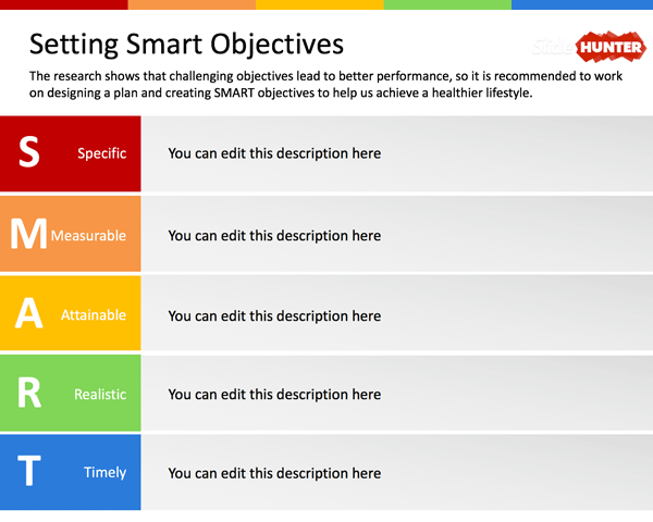 setting smart objectives powerpoint template | motivation, Powerpoint templates