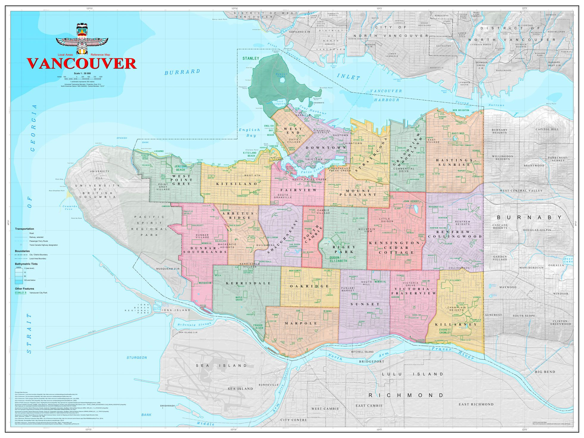 Neighbourhoods Of Vancouver British Columbia Canada MAPS - British columbia map