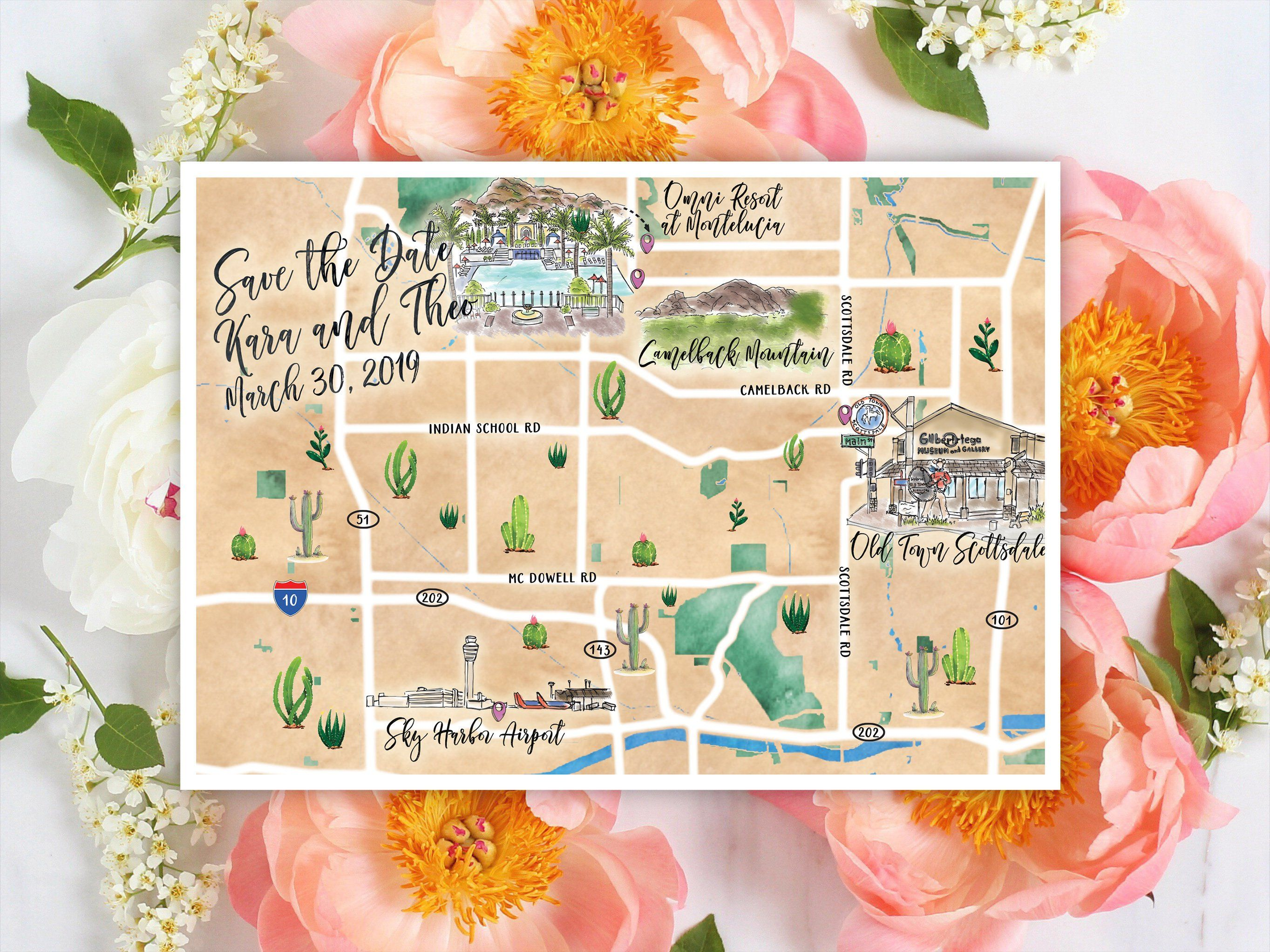 Custom Watercolor Wedding Map Personalized Hand Drawn Wedding Map