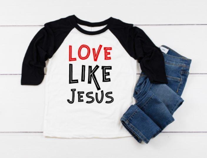 b1d21513b Love Like Jesus Youth Shirt - Cute kids valentine's day shirt reglan  baseball shirt
