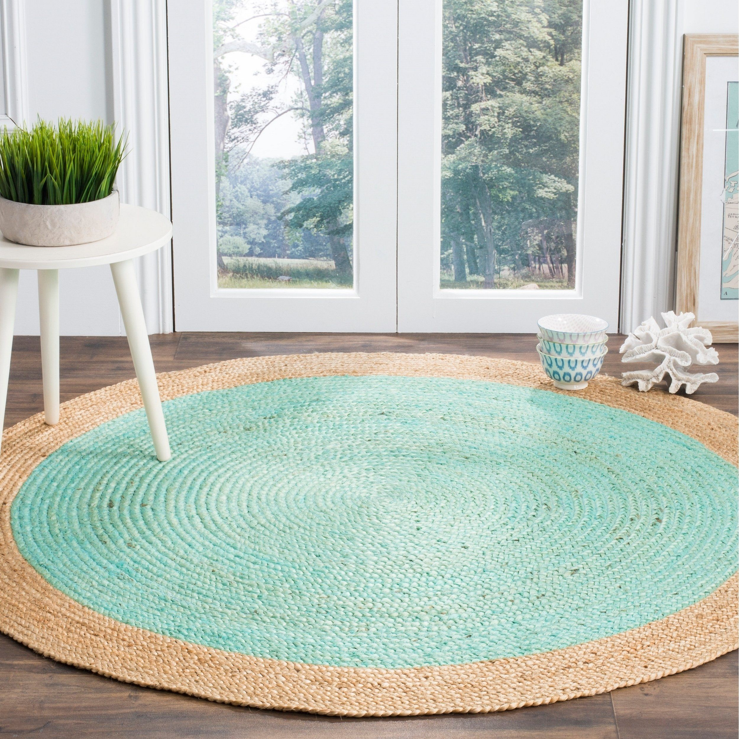 Safavieh Handmade Natural Fiber Contemporary Geometric Aqua