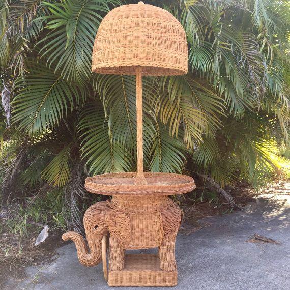 Vintage Wicker Elephant Side Table Lamp, Mid Century Palm Beach Hollywood  Regency