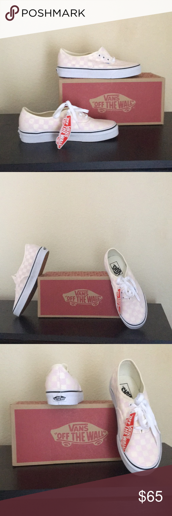 f36af53fe2 Vans Checkerboard Pink Authentic Shoes New with box Authentic Checkerboard  Chalk Pink - very light pink and cream color. Sizes shown in Women s Vans  Shoes ...