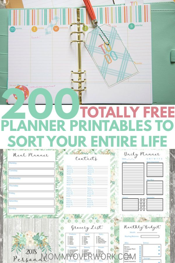 Best Free Planner Printables to ORGANIZE YOUR ENTIRE LIFE 2018