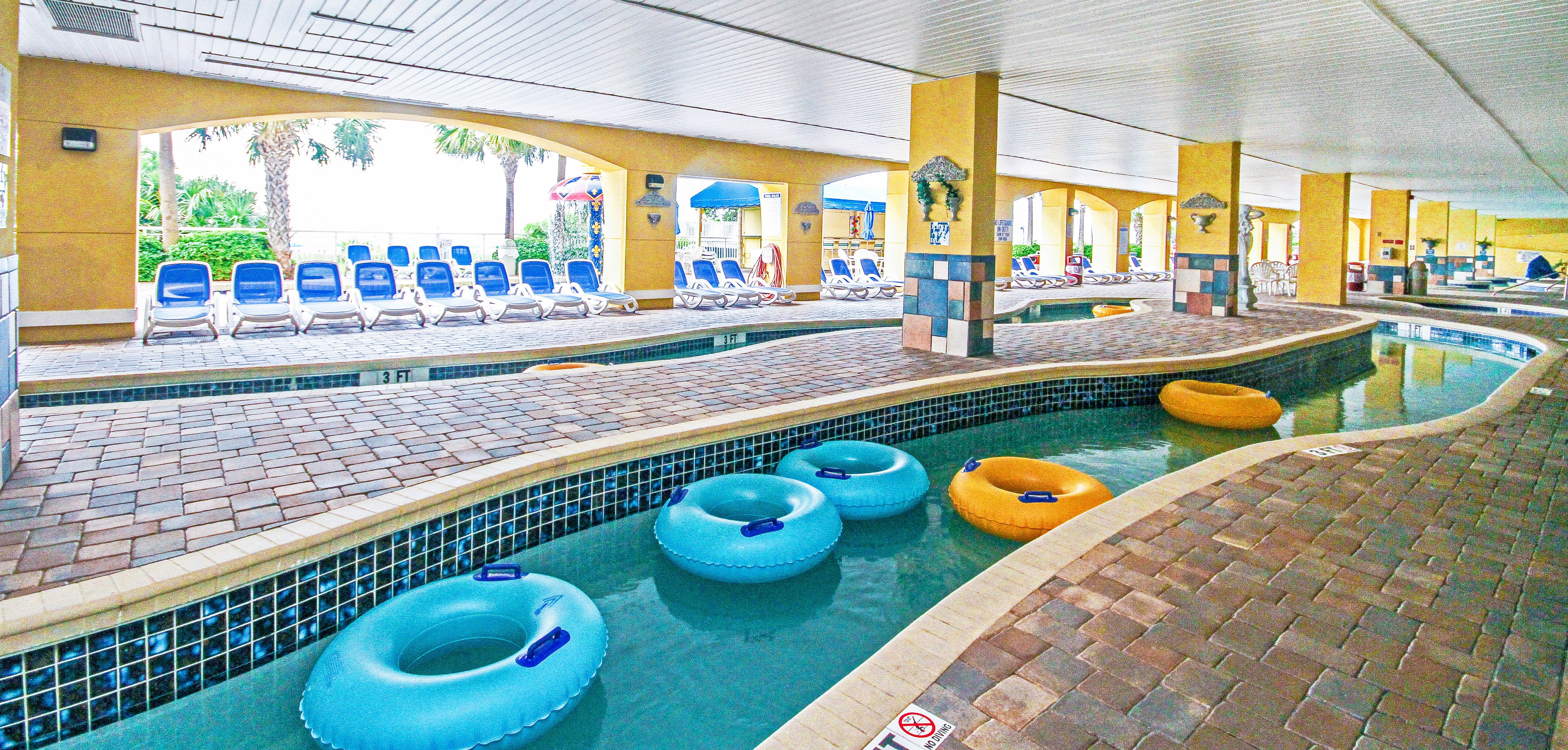 Covered Lazy River At Camelot By The Sea Myrtle Beach Resorts Myrtle Beach Lazy River Pool