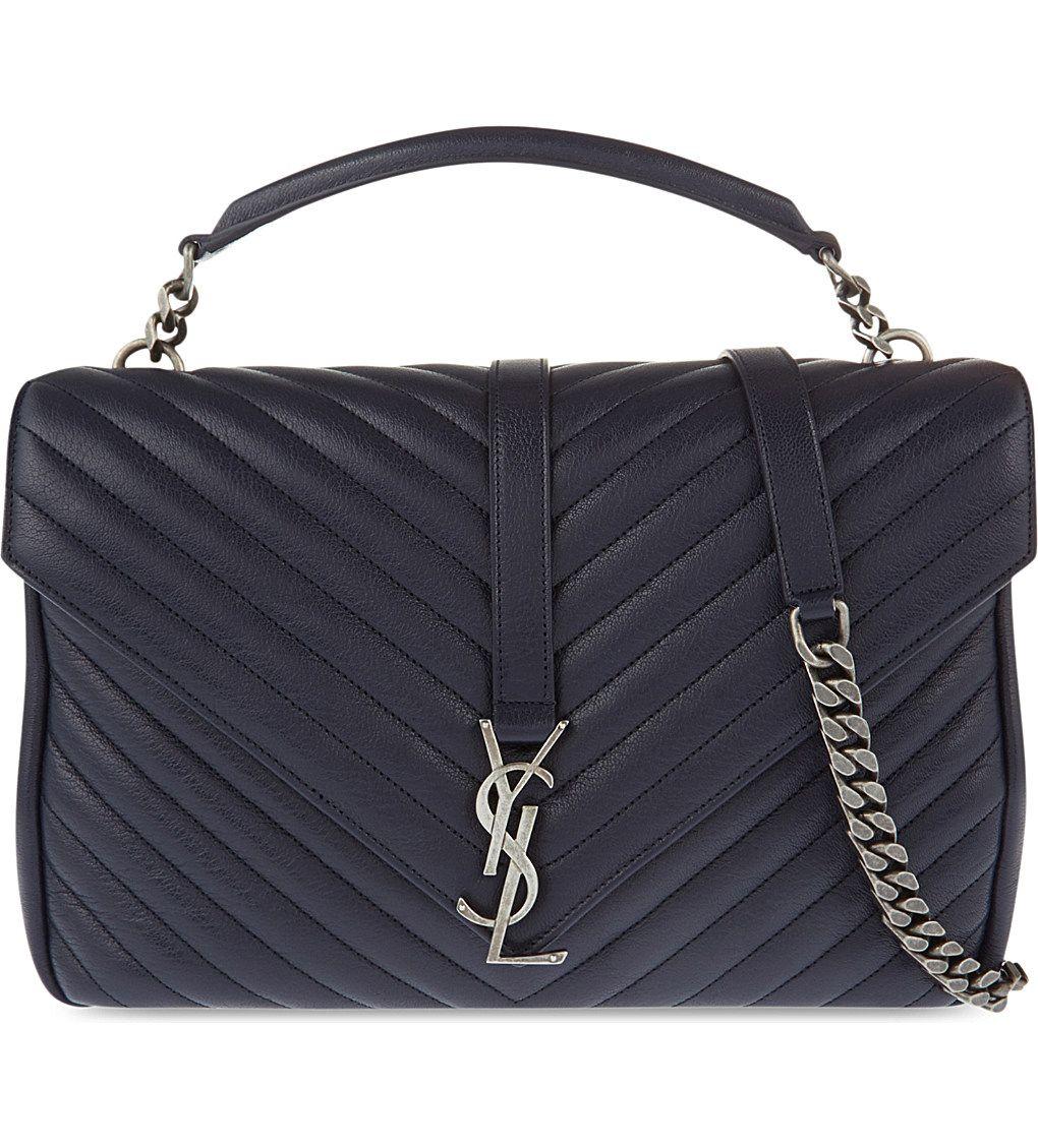SAINT LAURENT - Monogram Collège quilted leather satchel | Selfridges.com
