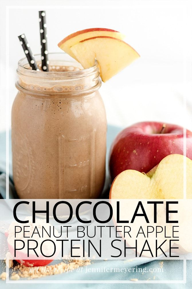 Chocolate Peanut Butter Apple Protein Shake #healthychocolateshakes