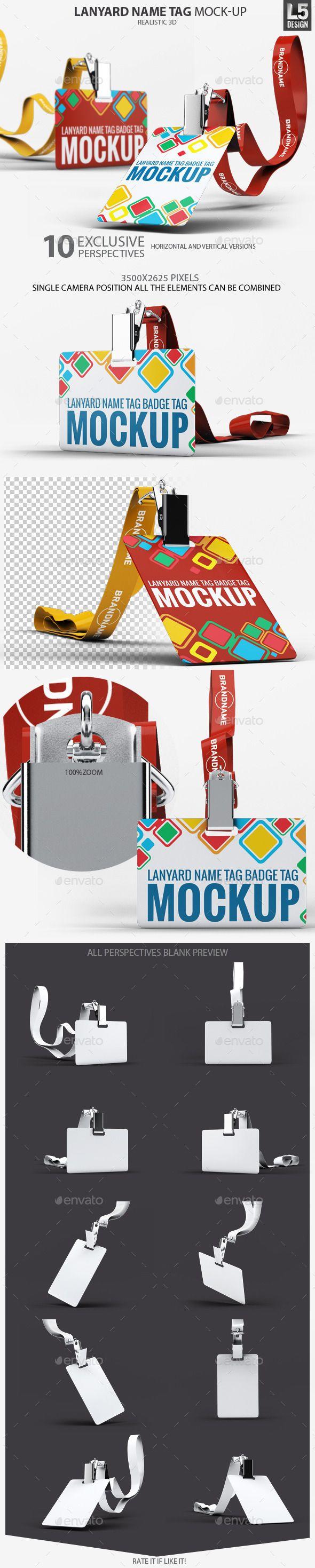 lanyard name tag badge mockup stationery pinterest mockup
