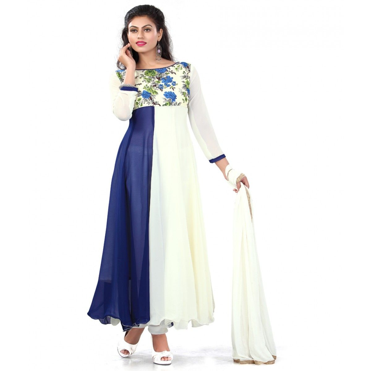 World's Most Selling Peacock  Bluecolor Gown type Salvar Suit