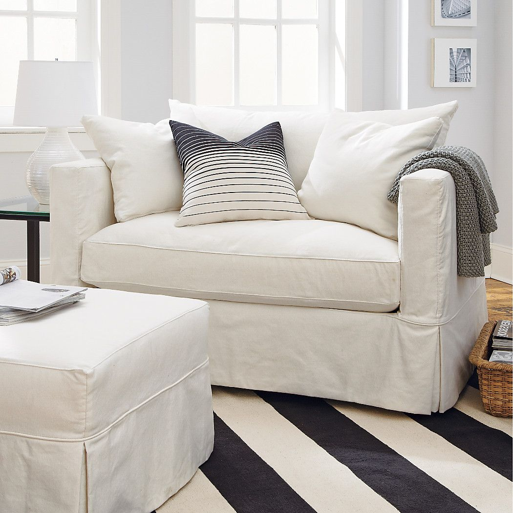 Willow White Slipcovered Chair And A Half Reviews Crate And Barrel In 2020 Oversized Chair Living Room Slipcovers For Chairs Comfy Living Room