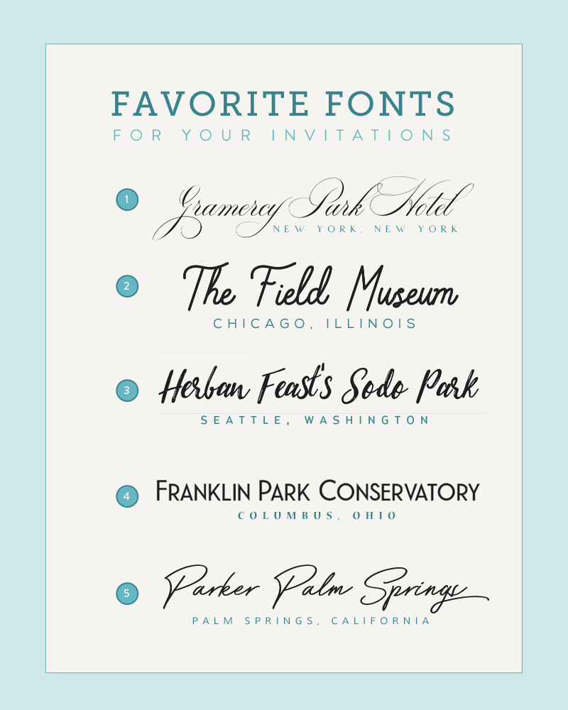 Five Font Pairings Inspired by Wedding Venues Wedding