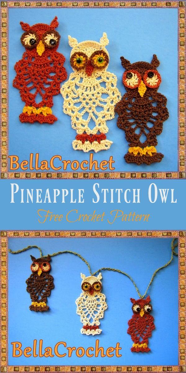Pineapple Stitch Owl Free Crochet Pattern   Pinterest   Patrón de ...