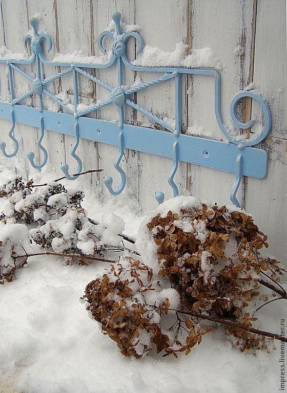 Hanger / Вешалка кованая большая ГОЛУБАЯ ШЕББИ - голубой, вешалка, крючки, кованая вешалкка, прованс