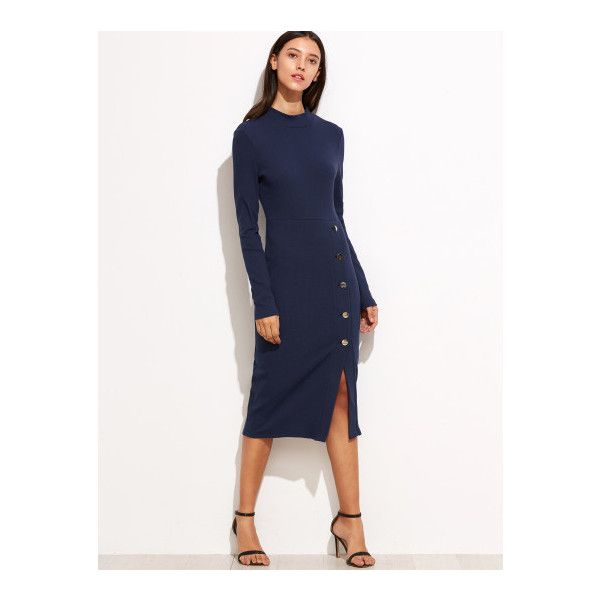 dee4507078 SheIn(sheinside) Navy Asymmetric Button Front Pencil Dress ($22) ❤ liked on  Polyvore featuring dresses, navy, long sleeve dress, button front dress, ...
