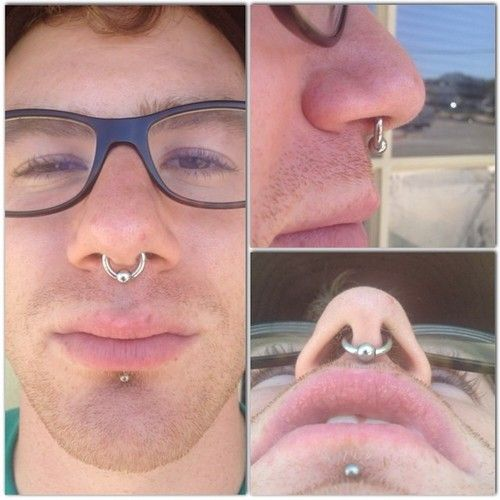 Healed 10g Septum With A 3 8 Captive Bead Ring From