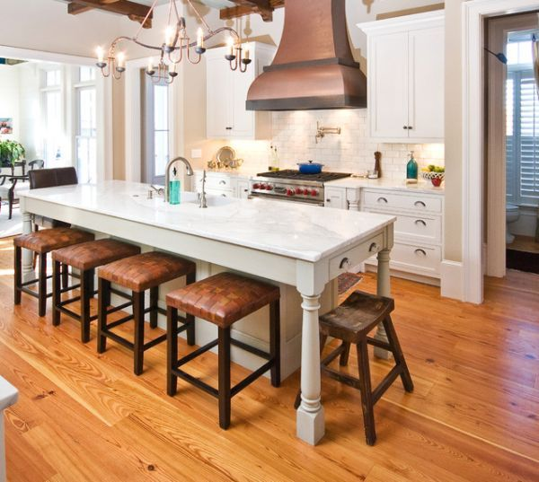 30 Kitchen Islands With Tables A Simple But Very Clever Combo Narrow Kitchen Island Kitchen Island Table Combination Kitchen Remodel Small