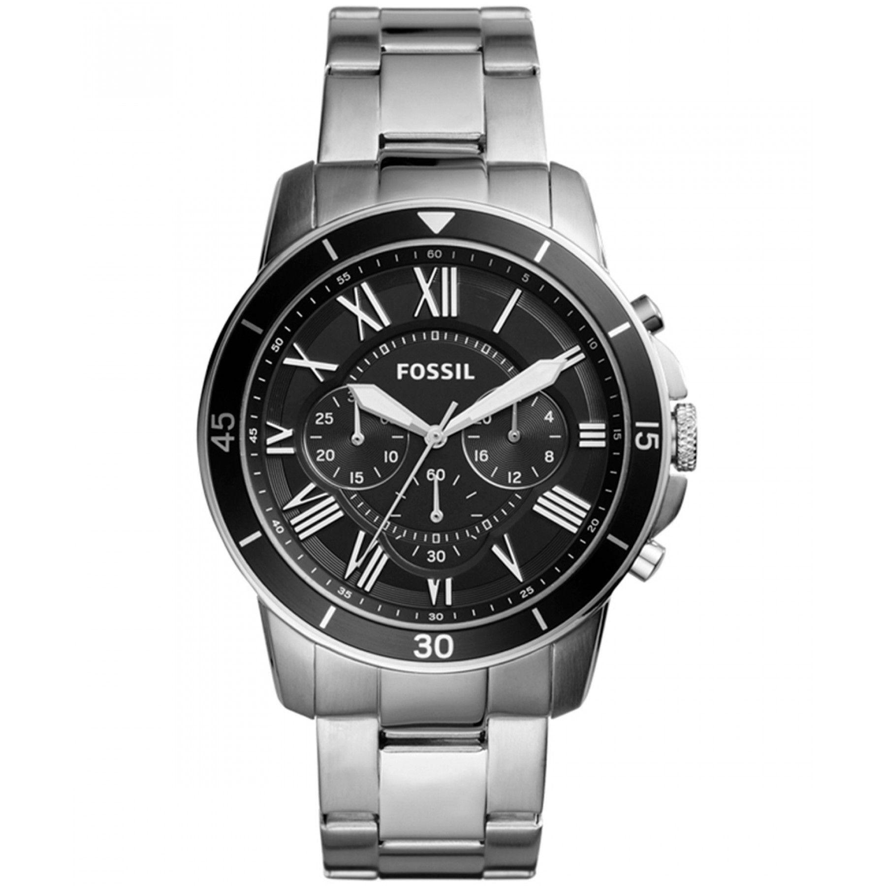 9d8c0f127b31 Reloj Fossil con caja bisel y extensible de acero carátula color negro y  manecillas luminiscentes.
