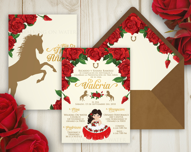 Xv Anos: Charro Invitation, Hacienda Invitation. Red Roses Tres