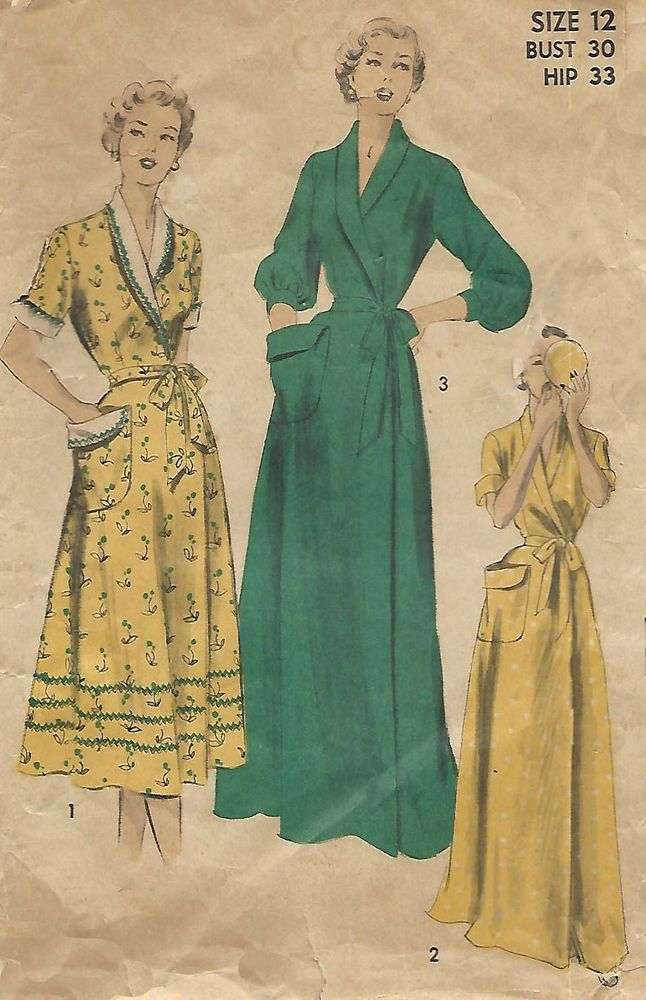 1950 S Vintage Sewing Pattern Women S Dressing Gown Robe Housecoat Bust 30 Advance Dressing Gown Pattern Gowns Dresses Dressing Gown Robe