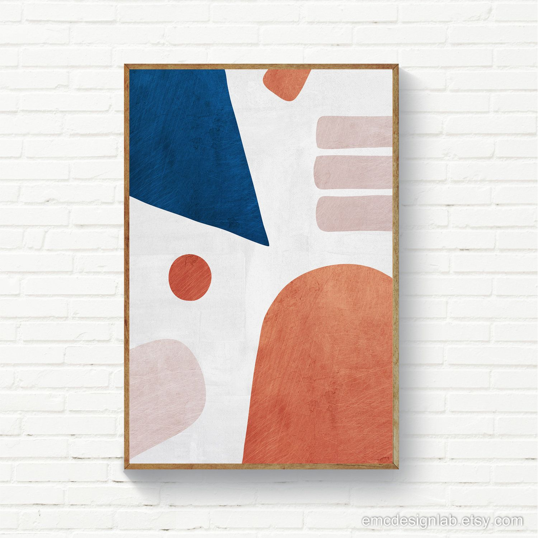 Abstract Navy Blue Burnt Orange Blush Print Instant Download Scandinavian Wall Art Geometric Original Art Scandinavian Wall Art Abstract Original Art