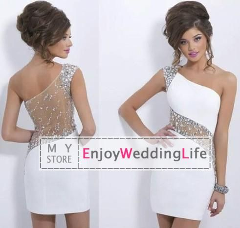 2014 Sexy New White One Shoulder Mini Homecoming Dresses Beaded Crystals  Sheer Back Sheath Short Cocktail
