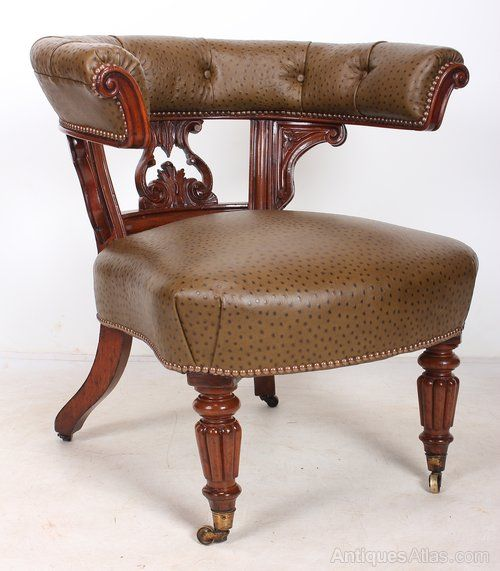 Mahogany And Ostrich Skin Desk Chair - Antiques Atlas - Mahogany And Ostrich Skin Desk Chair - Antiques Atlas Indian, And