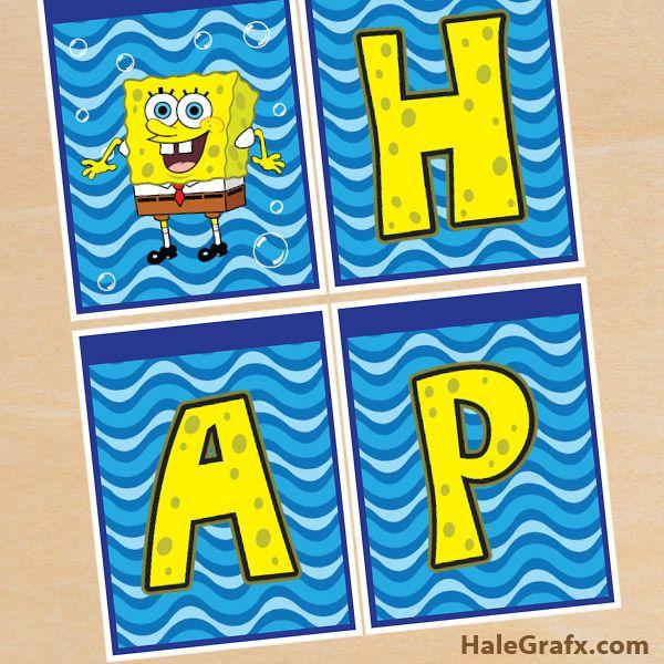 Print-it-Yourself Spongebob Themed Birthday Banner
